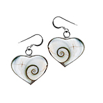 Sterling Silver Wide Heart Dangle Earrings with Eye of Shiva Shell