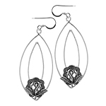 Sterling Silver Oval with Flower Wire Dangle Earrings