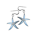 Sterling Silver Star Fish Dangle Earrings with Blue Mother of Pearl Inlay