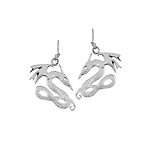 Sterling Silver Dragon Dangle Earrings