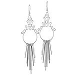 Sterling Silver Filigree Top Chandelier Earrings