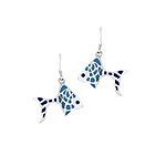Sterling Silver Fish Dangle Earrings with Blue Enamel Dots