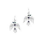 Sterling Silver Aztek Eagle Dangle Earrings with Blue Enamel Dots