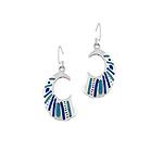 Sterling Silver C-Shaped Dangle Earrings with Blue Enamel Stripes