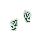 Sterling Silver Oval Shield-Shaped Stud Earrings with Green Enamel Bones Pattern