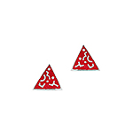 Sterling Silver Triangle Stud Earrings with Red Enamel Tribal Pattern