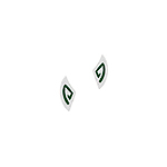 Sterling Silver Fang Stud Earrings with Green Enamel Pattern