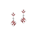 Sterling Silver Two Connected Squares Stud Earrings with Red Enamel Abstract Pattern