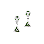 Sterling Silver Hexagon and Triangle Stud Earrings with Green Line and Dots Enamel