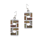 Sterling Silver 8-Shaped Dangle Earrings with Multicolor Mother of Pearl Inlay