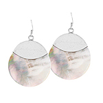 Sterling Silver and Mother of Pearl Round Acorn Dangle Earrings
