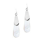 Sterling Silver and Mother of Pearl Long Acorn Dangle Earrings