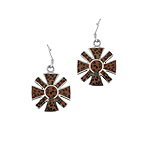 Sterling Silver Daisy Dangle Earrings with Wood Inlays