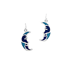 Sterling Silver Moon Dangle Earrings with Blue Enamel Inlays