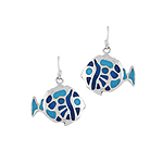 Sterling Silver Round Fish Dangle Earrings with Blue Enamel Inlays