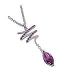 "Sterling Silver Zigzag and Drop Necklace With Simulated Amethyst on 16"" Cable Chain"