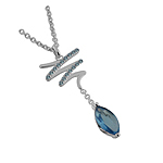 "Sterling Silver Zigzag and Drop Necklace With Simulated Blue Topaz on 16"" Cable Chain"