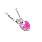 "Sterling Silver Heart  and 16"" Chain Necklace With Pink CZ"
