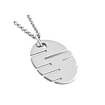 "Sterling Silver Slotted Oval Necklace with 16"" Snake Chain"