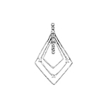 Sterling Silver Triple Diamond Pendant with CZ