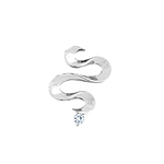 Sterling Silver Wide Snake Pendant with CZ