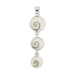Sterling Silver Triple Circle Pendant with Eye of Shiva Shell
