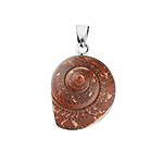 "Sterling Silver ""Coma"" Pendant with Brown Turbo Shell"