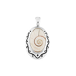 Sterling Silver Vine Frame Oval Pendant with Eye of Shiva Shell