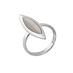 Pointed Oval Sterling Silver Ring with White Mother Of Pearl