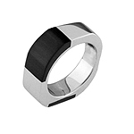 Rounded Corners Sterling Silver Ring with Black Cat