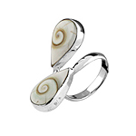 Sterling Siver Two Teardrops Ring with Eye of Shiva Inlay