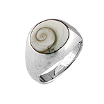 Elevated Circle Sterling Silver Ring with Eye of Shiva Shell Inlay