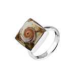 Square Sterling Silver Ring with Turbo Shell Inlay