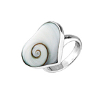 Sterling Silver Wide Heart-Shaped Ring with Eye of Shiva Shell