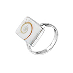 Sterling Silver Ring with Rectangular Shaped Eye of Shiva Shell Inlay