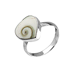 Sterling Silver Ring with Heart Shaped Eye of Shiva Shell Inlay