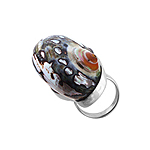 Sterling Silver Large Oval Ring with Turbo Shell Inlay
