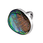 Wide Oval Sterling Silver Oval Ring with Abalone Shell
