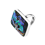 Sterling Silver Ring with Rectangular Abalone Shell Inlay