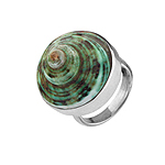 Sterling Silver Ring with Round Green Turbo Shell Inlay