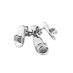 Sterling Silver Sandals Set with White CZ