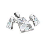 Sterling Silver Fish Scales Set with White Mother of Pearl Inlays