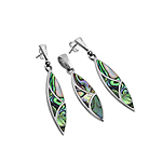 Sterling Silver Pointed Oval Set with Abalone Shell Inlays