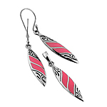 Sterling Silver Pointed Oval Set with Red Coral Imitation Inlays