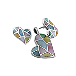 Sterling Silver Skewed Hearts Set with Multicolor Mother Of Pearl Inlays